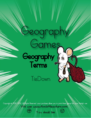 Memorize Geography Terms with this printable Geography 'Tiedown'.