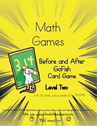 Before and After Numbers GoFish Card Game Level II
