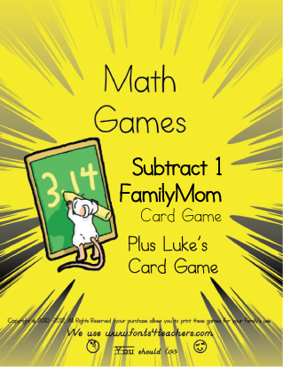 Subtract 1 FamilyMom Card Game