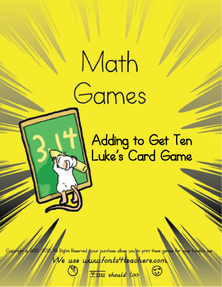 Adding to Get Ten Luke's Printable Card Game