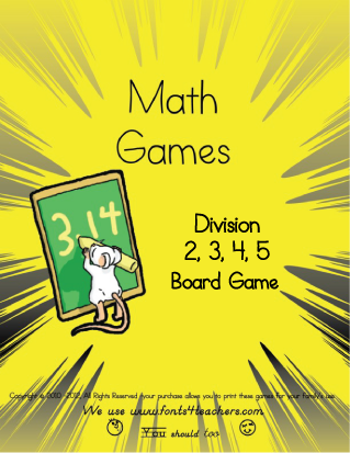 Dividing By 2. 3, 4, and 5 Board Game