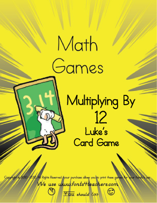 Multiplying By 12 Luke's Card Game