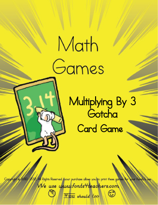 FREE printable Multiplying by 3 Gotcha Card Game.