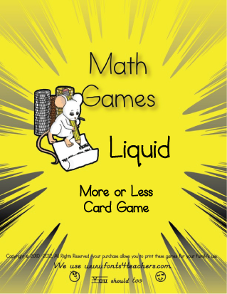 Liquid Measure More Or Less Card Game