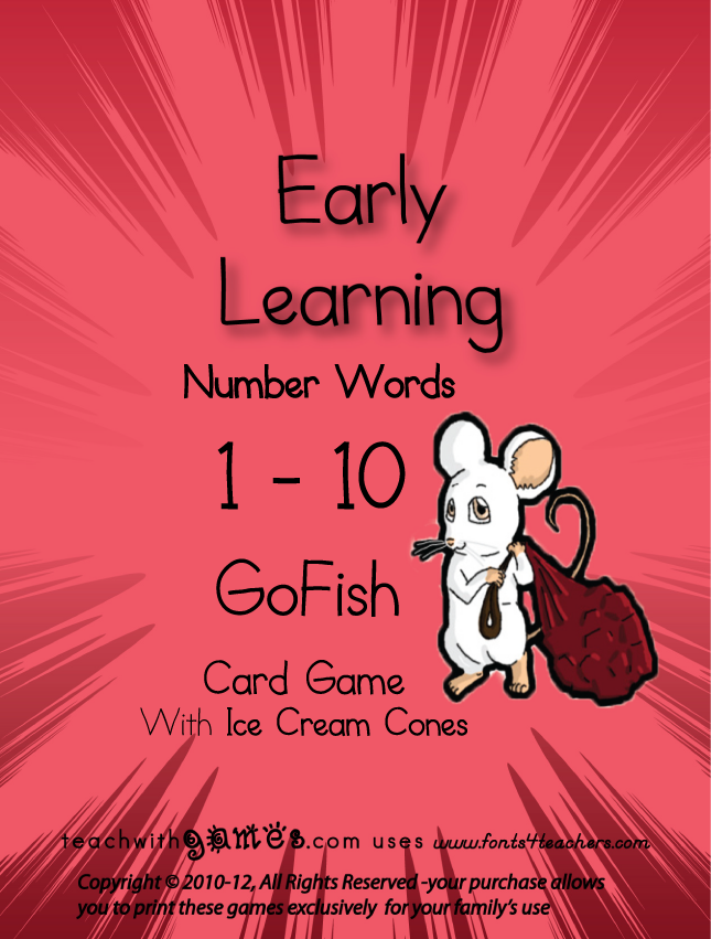 Number Words 1 - 10 GoFish Card Game (ice cream cones)