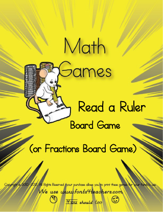 Read a Ruler Board Game (Fractions Board Game)
