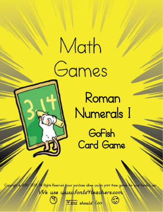 Learn as you play with the easy Roman Numerals (under 20), in a printable game of GoFish.