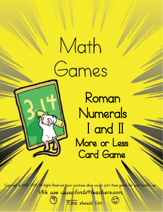 Roman Numerals More Or Less Card Game