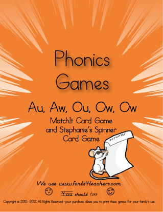 Ow, aw, au, ou, ow MatchIt and Stephanie's Card Games