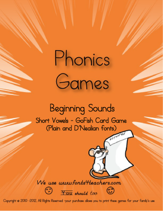 Short Vowel Go Fish Card Game (plain and D'Nealian font)