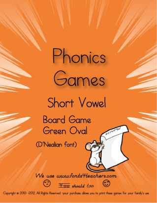 Green Long and Short Vowel Board Game (DN font)