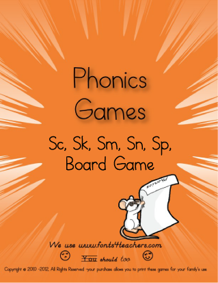 Sc, Sk, Sm, Sn, Sp, Phonics Board Game