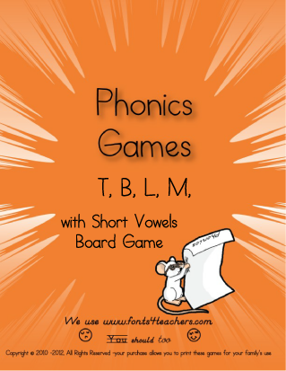 T, B, L, M Board Game (Short Vowels)