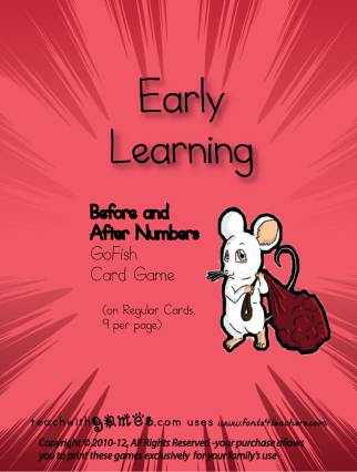 Before and After Numbers GoFish Card Game