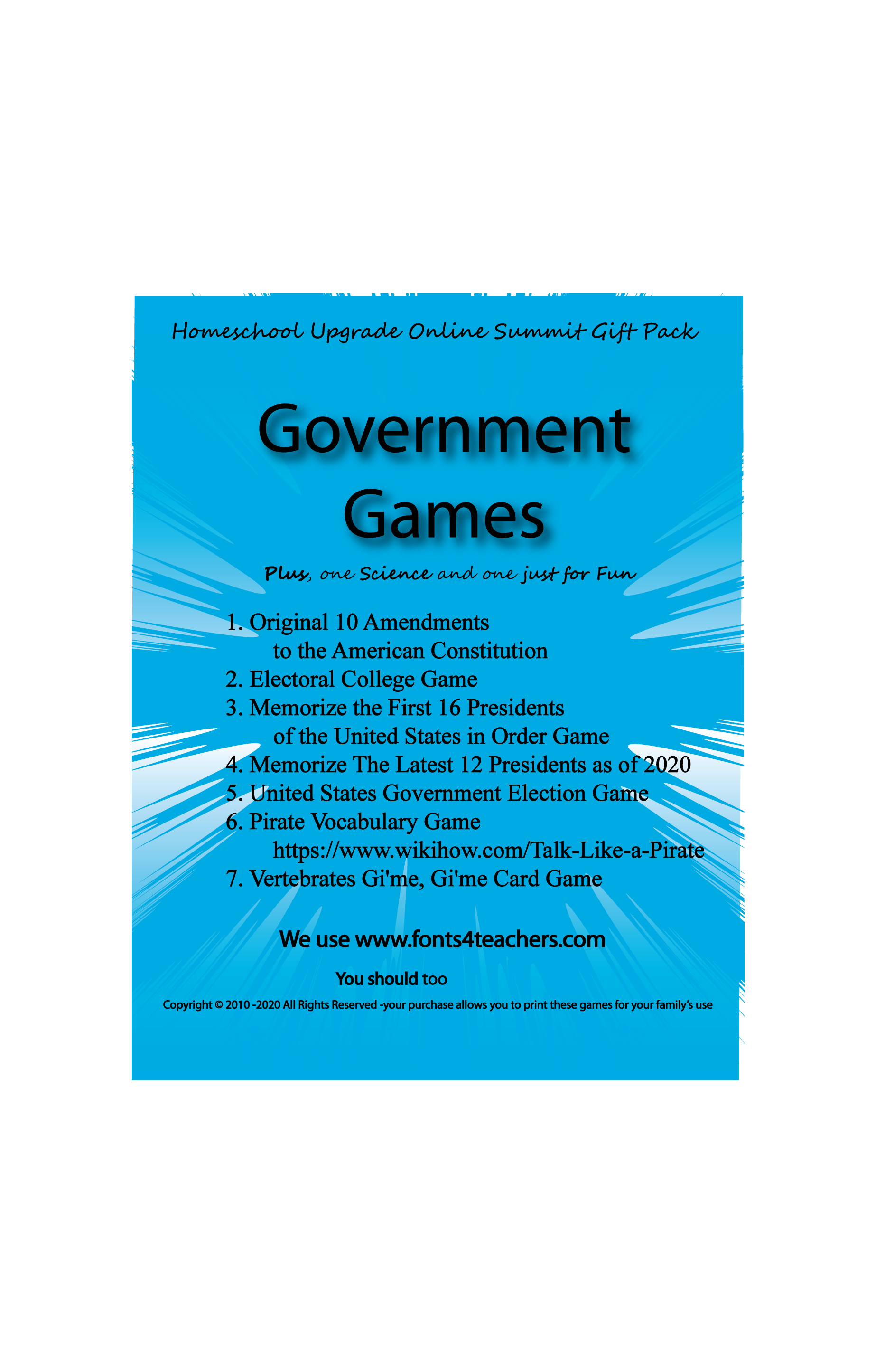 Government Games cover shows the games included in the Game pack.