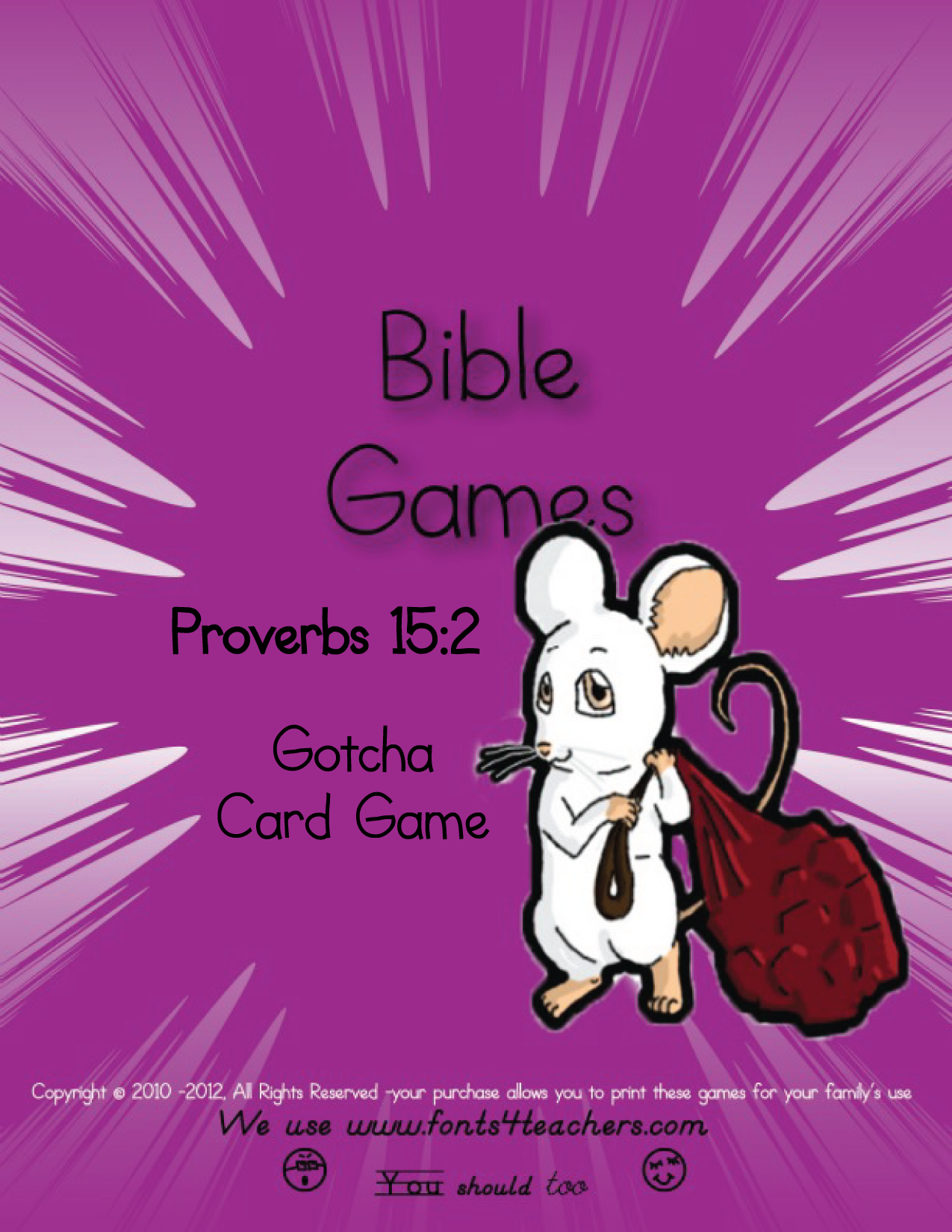 Proverbs 15:2a Free Gotcha Card Game.