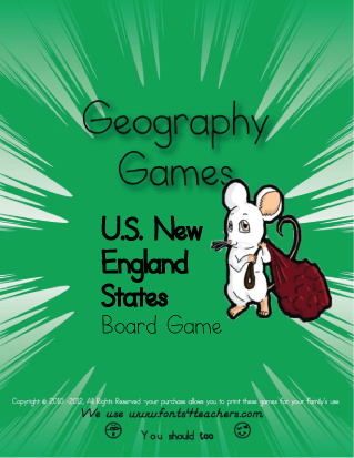 US New England States Board Game
