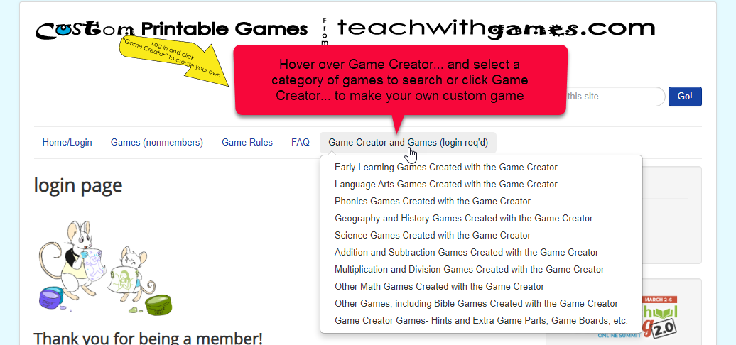 Select a game someone else made or create your own custom game with your information.