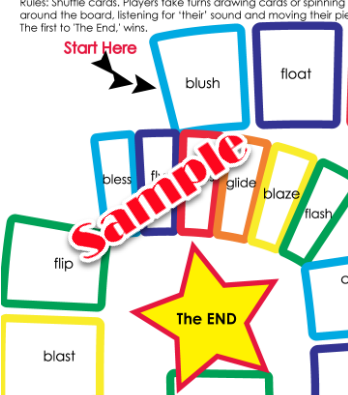 Here is a sample portion of our Bl, Cl, Fl, Gl, Phonics Game Board.