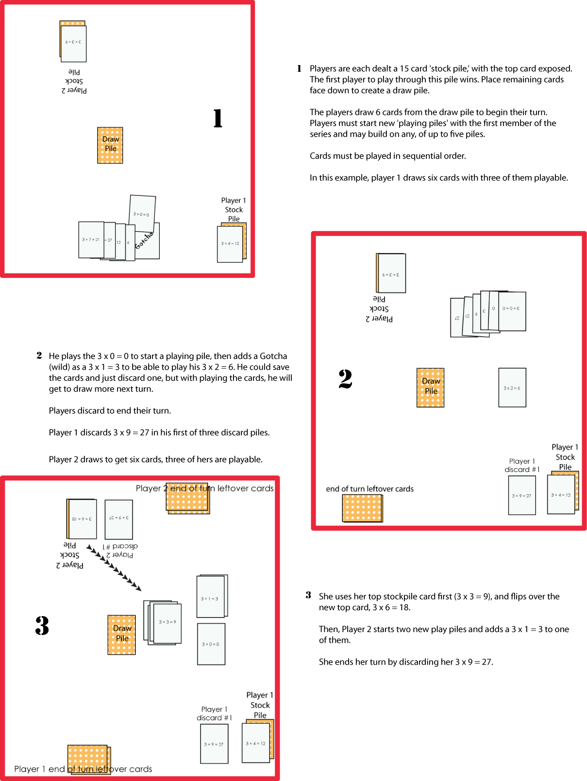The second half of our visual rules for teachwithgame's Gotcha printable card game.