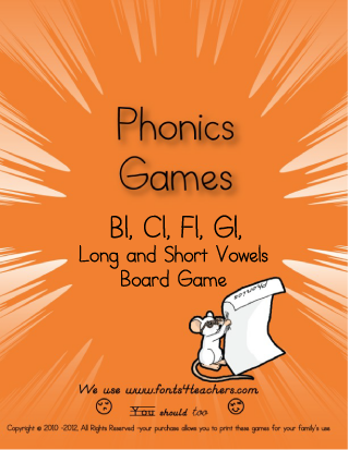 This is the cover for our Bl, Cl, Fl, Gl Phonics Board Game.